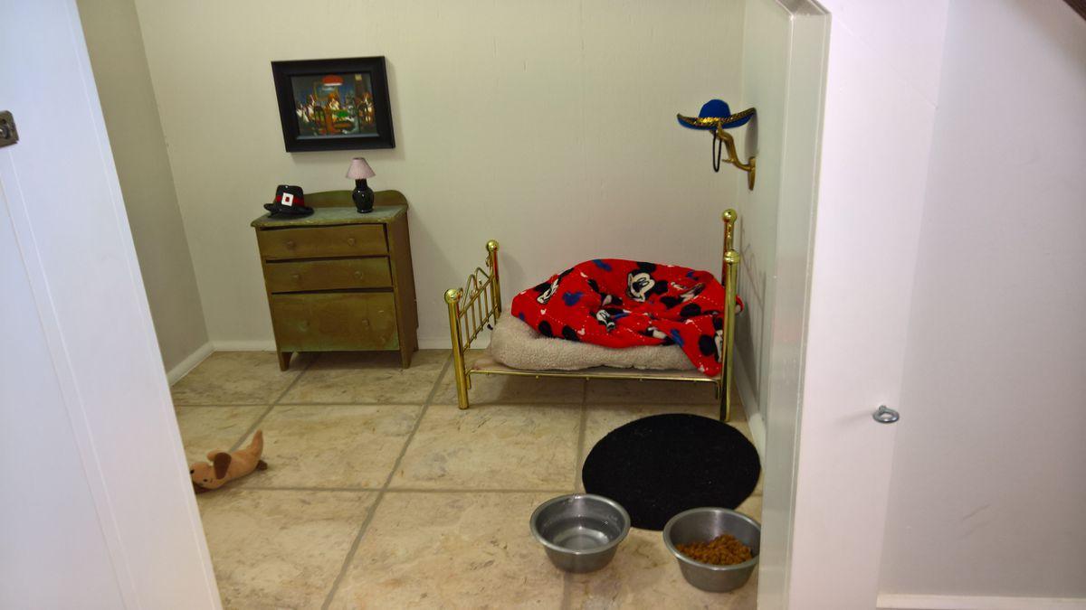 Ponchos Zimmer mit Bett und Kommode